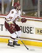 Ready - Chris Kreider (BC - 19) celebrates his second period goal which made it 4-2 BC. - The Boston College Eagles defeated the visiting Boston University Terriers 5-2 on Saturday, December 4, 2010, at Conte Forum in Chestnut Hill, Massachusetts.