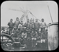 BNPS.co.uk (01202 558833)<br /> Pic: PenzanceAuctions/BNPS<br /> <br /> The local Innuit eskimo's acted as guides.<br /> <br /> Incredibly rare glass slides depicting the British expedition to the North Pole in 1875 have been found 140 years later.<br /> <br /> The remarkable images from the early days of photography depict the brave men and their Inuit guides who endured sub-zero temperatures to try to become the first to reach the pole in 1875.<br /> <br /> Photographers Thomas Mitchell and George White went on the failed expedition and now 42 of their glass slides have been found in a box during a house clearance in Cornwall.