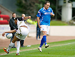 St Johnstone v Inverness Caley Thistle....07.04.12   SPL.Lee Croft pulls up holding his hamstring.Picture by Graeme Hart..Copyright Perthshire Picture Agency.Tel: 01738 623350  Mobile: 07990 594431