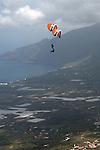 Hang gliding acrobats, Playa de Cantadel, El Hierro,Canary Islands, Spain.