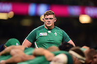 Tadhg Furlong of Ireland looks on during the pre-match warm-up. Rugby World Cup Pool D match between France and Ireland on October 11, 2015 at the Millennium Stadium in Cardiff, Wales. Photo by: Patrick Khachfe / Onside Images