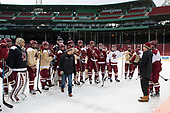 Brian Hurley (BC - Student Manager) presented the belt to shootout winner Michael Kim (BC - 4). - The Boston College Eagles practiced at Fenway on Friday, January 6, 2017, in Boston, Massachusetts.