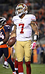 SHOT 10/19/14 8:16:21 PM - San Francisco 49ers quarterback Colin Kaepernick #7 reacts after a busted play against the Denver Broncos at Sports Authority Field at Mile High Sunday October 19, 2014 in Denver, Co. The Broncos beat the 49ers 42-17.<br /> (Photo by Marc Piscotty / &copy; 2014)