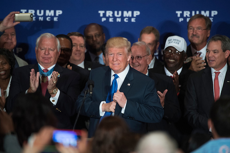 UNITED STATES - SEPTEMBER 16: Republican presidential candidate Donald Trump attends a campaign event with veterans at the Trump International Hotel on Pennsylvania Ave., NW, where he stated he believes President Obama was born in the United States, September 16, 2016. (Photo By Tom Williams/CQ Roll Call)