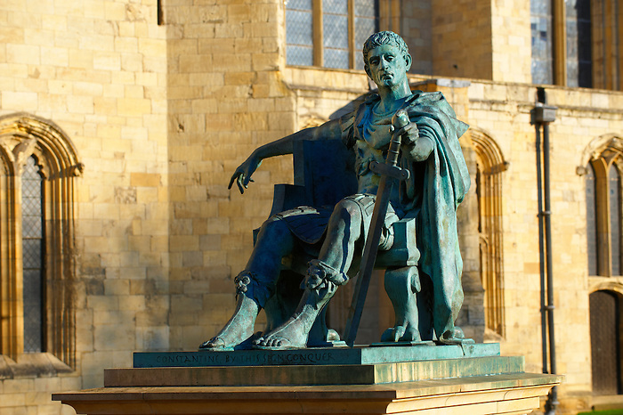 Statue of Emperor Constantine outside York Minster exterior, England