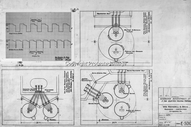 Pittsburgh PA:  View of William Swindell & Brothers engineering drawing of the alternative arrangements of the 3-ton Electric Melting Furnace - 1922.  Swindell Dressler International Company was based in Pittsburgh, Pennsylvania. The company was founded by Phillip Dressler in 1915 as American Dressler Tunnel Kilns, Inc.  In 1930, American Dressler Tunnel Kilns, Inc. merged with William Swindell and Brothers to form Swindell-Dressler Corporation. The Swindell brothers designed, built, and repaired metallurgical furnaces for the steel and aluminum industries. The new company offered extensive heat-treating capabilities to heavy industry worldwide.