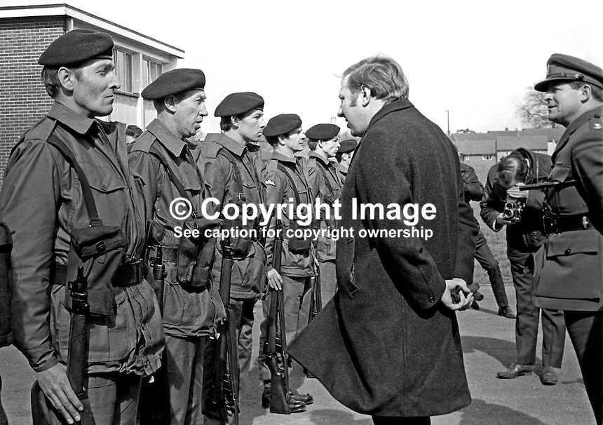 Roy Hattersley, MP, Labour Party, Defence Minister, inspects the first member of the newly-formed Ulster Defence Regiment, UDR, about to go on duty on 1st April 1970 when the regiment became operational for the first time. 197004010112c..Copyright Image from Victor Patterson, 54 Dorchester Park, Belfast, United Kingdom, UK...For my Terms and Conditions of Use go to http://www.victorpatterson.com/Victor_Patterson/Terms_%26_Conditions.html