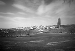 Pittsburgh PA:  View of the University of Pittsburgh's Cathedral of Learning, Forbes Field and Phipps Conservatory from Schenley Park - 1962