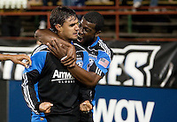 Brandon McDonald (right) celebrates with Chris Wondolowski (left) after his goal. The San Jose Earthquakes defeated the Philadelphia Unioin 1-0 at Buck Shaw Stadium in Santa Clara, California on September 15th, 2010.
