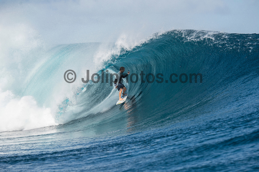 Namotu Island Resort, Namotu, Fiji. (Wednesday May 28, 2014) Anthony Walsh (AUS) –  The Fiji Women's Pro, Stop No. 5 of 10 on the 2014  Women's World Championship Tour (WCT) was called on today  at Resturants  bemusing of a rising swell at Cloudbreak. 4'-6' south swell.  A  free surf session went down at Cloudbreak with some amazing barrels with the swell pushing 8'-10'.hoto: joliphotos.com