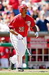 11 June 2006: Daryle Ward, outfielder for the Washington Nationals, hits a pinch-hit home-run during a game against the Philadelphia Phillies at RFK Stadium, in Washington, DC. The Nationals shut out the visiting Phillies 6-0 to take the series three games to one...Mandatory Photo Credit: Ed Wolfstein Photo..