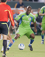 CARSON, CA – NOVEMBER 7:  Seattle Sounders Blaise Nkufo (9)during a playoff soccer match at the Home Depot Center, November 7, 2010 in Carson, California. Final score LA Galaxy 2, Seattle Sounders 1.