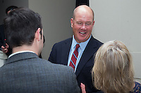 """Former Major League Baseball pitcher Jim Abbott talks to guests at the Wake Forest Baseball """"First Pitch"""" Dinner on February 9, 2017 in Winston-Salem, North Carolina.  (Brian Westerholt/Four Seam Images)"""