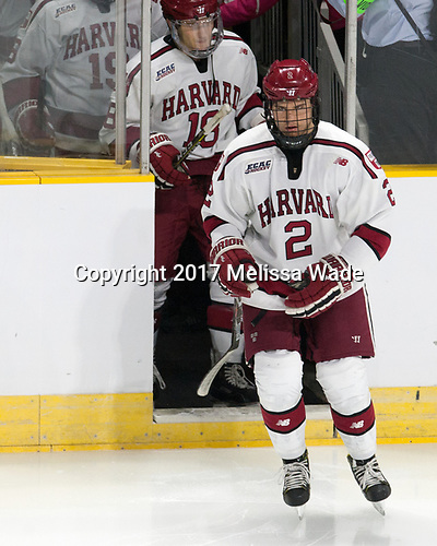 Adam Fox (Harvard - 18), Tyler Moy (Harvard - 2) - The Harvard University Crimson defeated the Providence College Friars 3-0 in their NCAA East regional semi-final on Friday, March 24, 2017, at Dunkin' Donuts Center in Providence, Rhode Island.