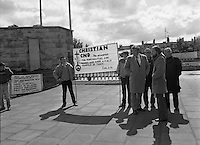 Protest against Ronald Reagan visit to Ireland..1984.04.06.1984.06.04.1984.4th June 1984..In protest against the visit of President Ronald Reagan to Ireland several groups met at the Garden Of Remembrance,Parnell Square Dublin. Among the protesters were The Christian Campaign for Nuclear Disarmament and The Langoni Nine activists. The nine died in an arson attack in the Philippines,a regime supported by the American government.Several religious also took part in the protest.