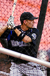 13 June 2006: Jamey Carroll, infielder for the Colorado Rockies, takes batting practice prior to a game against the Washington Nationals at RFK Stadium, in Washington, DC. The Rockies defeated the Nationals 9-2 in the second game of the four-game series...Mandatory Photo Credit: Ed Wolfstein Photo..