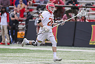College Park, MD - February 25, 2017: Maryland Terrapins Matt Neufeldt (28) runs with the ball during game between Yale and Maryland at  Capital One Field at Maryland Stadium in College Park, MD.  (Photo by Elliott Brown/Media Images International)