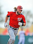 6 March 2012: Washington Nationals outfielder Jayson Werth rounds the bases after hitting a home run during a Spring Training game against the Atlanta Braves at Champion Park in Disney's Wide World of Sports Complex, Orlando, Florida. The Nationals defeated the Braves 5-2 in Grapefruit League action. Mandatory Credit: Ed Wolfstein Photo