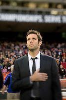 D.C. United head coach Ben Olsen salutes the flag during the Star Spangled Banner before the game at RFK Stadium in Washington DC.   D.C. United tied  the Seattle Sounders, 0-0.