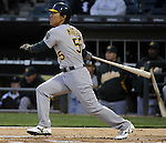 CHICAGO - APRIL 12:  Hideki Matsui #55 of the Oakland Athletics hits a double against the Chicago White Sox on April 12, 2011 at U.S. Cellular Field in Chicago, Illinois.  The White Sox defeated the Athletics 6-5.  (Photo by Ron Vesely)  Subject:  Hideki Matsui