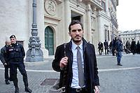 Roma 15 marzo 2013.Montecitorio l'arrivo dei parlamentari alla Camera dei Deputati per l' inizio della XVII legislatura..Enzo Lattuca  del Partito democratico, il più giovane deputato