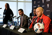 Toronto, ON, Canada - Thursday Dec. 08, 2016: Greg Vanney, Jozy Altidore, Michael Bradley during a press conference prior to MLS Cup at the Kia Training Grounds.