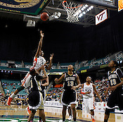 Wake Forest defeated Miami 81-74 during quarter finals of the 2012 ACC Women's Basketball Tournament at the Greensboro Coliseum in Greensboro, NC. Photo by Al Drago.