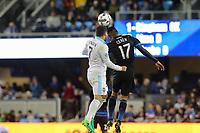 San Jose, CA - Saturday April 08, 2017: Darwin Ceren, Cristian Roldan  during a Major League Soccer (MLS) match between the San Jose Earthquakes and the Seattle Sounders FC at Avaya Stadium.