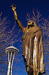 Space Needle and Chief Selth with arm raised artist James Wehn Seattle Washington State USA