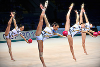 "Italy senior group performs at 2011 World Cup Kiev, ""Deriugina Cup"" in Kiev, Ukraine on May 06, 2011."