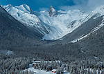 Aerial view of Bugaboos Lodge and Bugaboos Spires, Canadian Mountain Holidays heli-skiing &amp; heli-snowboading, British Columbia, Canada