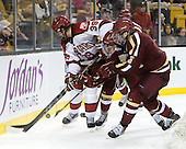 Brian Hart (Harvard - 39), Pat Mullane (BC - 11), Patrick Wey (BC - 6) - The Boston College Eagles defeated the Harvard University Crimson 4-1 in the opening round of the 2013 Beanpot tournament on Monday, February 4, 2013, at TD Garden in Boston, Massachusetts.