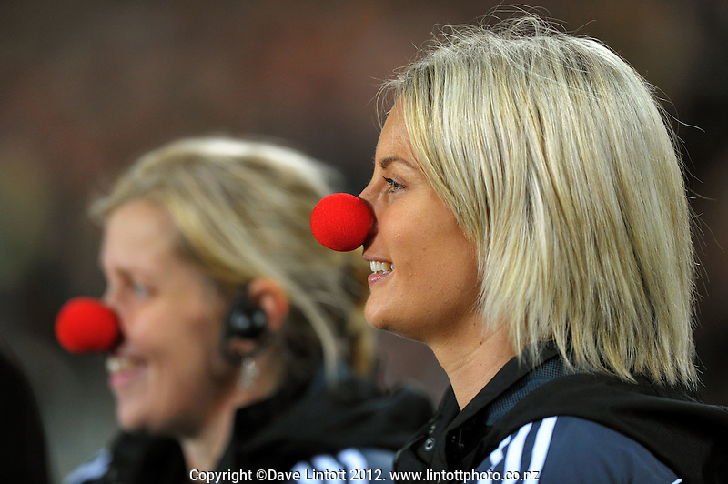 Officials don red noses at halftime during the Rugby Championship international rugby Bledisloe Cup test match between All Blacks and Australia at Eden Park, Auckland, New Zealand on Saturday, 25 August 2012. Photo: Dave Lintott / lintottphoto.co.nz