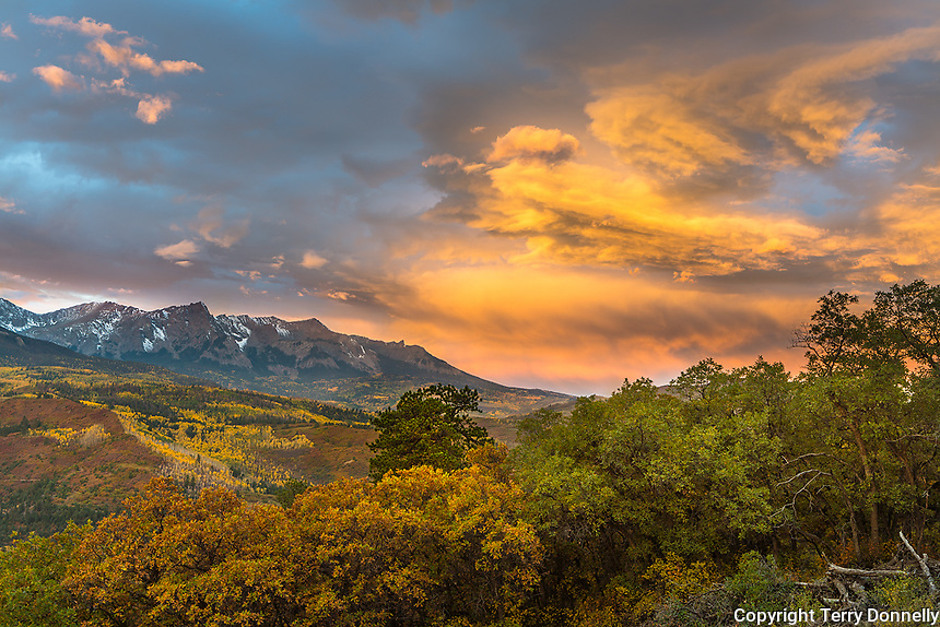 Uncompahgre National Forest, Colorado: Storm clouds at sunrise over the Sneffels range, autumn