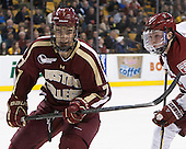 Isaac MacLeod (BC - 7) - The Boston College Eagles defeated the Harvard University Crimson 4-1 in the opening round of the 2013 Beanpot tournament on Monday, February 4, 2013, at TD Garden in Boston, Massachusetts.