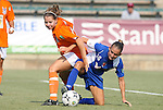 03 July 2008: Carolina's Kelly Attayek (l) and Charlotte's Carrie Lorenz (16) challenge for the ball. The Charlotte Lady Eagles defeated the Carolina Railhawks Women 3-0 at WakeMed Stadium in Cary, NC in a 2008 United Soccer League W-League regular season game.
