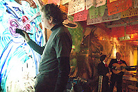 Interpretive Painting  Artist  Norton Wisdom  performance in collaboration with   Mariachis Los Caltecas De California  at Lula Cocina Mexicana on Tuesday, February 1, 2011.