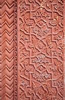 Fatehpur Sikri, Uttar Pradesh, India.  Decorative Carving in Stone Pillar of the Diwan-i-Khas (Hall of Private Audience) of Emperor Jalal el-Din Akbar.