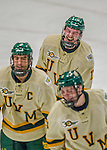 29 December 2013:  University of Vermont Catamount Forward Jake Fallon, a Junior from Southlake, Texas, is all smiles after scoring the tournament-winning goal in the final game against the Canisius College Golden Griffins at Gutterson Fieldhouse in Burlington, Vermont. The Catamounts defeated the Golden Griffins 6-2 to capture the 2013 Sheraton/TD Bank Catamount Cup NCAA Hockey Tournament for the second straight year. Mandatory Credit: Ed Wolfstein Photo *** RAW (NEF) Image File Available ***