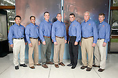 Houston, TX - January 9, 2009 -- The STS-119 crew members pose for a portrait following a preflight press conference at NASA's Johnson Space Center. From the left are Japan Aerospace Exploration Agency (JAXA) astronaut Koichi Wakata, NASA astronauts Joseph Acaba, Richard Arnold, all mission specialists; Tony Antonelli, pilot; Lee Archambault, commander; John Phillips and Steve Swanson, both mission specialists. Wakata is scheduled to join Expedition 18 as flight engineer after launching to the International Space Station with the STS-119 crew..Credit: Robert Markowitz - NASA via CNP