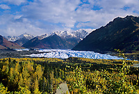Matanuska glacier flows out of the Chugach mountains, Alaska