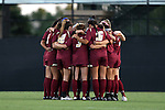 17 September 2016: Boston College's starters huddle before the game. The Duke University Blue Devils hosted the Boston College Eagles at Koskinen Stadium in Durham, North Carolina in a 2016 NCAA Division I Women's Soccer match. Duke won the game 3-2.