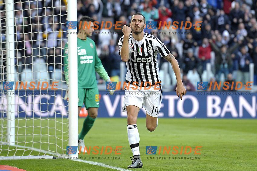 Esultanza Leonardo Bonucci Juventus dopo gol 2-0, goal celebration,<br /> Torino 06-01-2016, Juventus Stadium, Football Calcio 2015/2016 Serie A, Juventus - Verona, Foto Filippo Alfero/Insidefoto