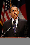2008 US presidential candidate Barack Obama speaks during a campaign stop, Feb. 19, 2008, at the Guadalupe Cultural Arts Center in San Antonio, Texas. Obama held a round table discussion with members of the local community and then spoke to a crowd of thousands in an outdoor amphitheater. (Darren Abate/PressPhotoIntl.com)