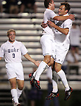 Blake Camp (r) celebrates his goal at 7:20 with teammates Tomek Charowski (center) and Mike Grella (9) on Friday, October 21st, 2005 at Koskinen Stadium in Durham, North Carolina. The Duke University Blue Devils defeated the North Carolina State University Wolfpack 6-0 during an NCAA Division I Men's Soccer game.