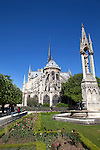 Springtime view of Notre Dame and Notre Dame Park, Ile de la Cite, Paris, France, Europe