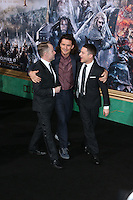 HOLLYWOOD, LOS ANGELES, CA, USA - DECEMBER 09: Billy Boyd, Orlando Bloom, Elijah Wood  arrive at the World Premiere Of New Line Cinema, MGM Pictures And Warner Bros. Pictures' 'The Hobbit: The Battle of the Five Armies' held at the Dolby Theatre on December 9, 2014 in Hollywood, Los Angeles, California, United States. (Photo by Xavier Collin/Celebrity Monitor)