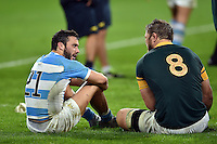 Martin Landajo of Argentina and Duane Vermeulen of South Africa have a chat after the match. Rugby World Cup Bronze Final between South Africa and Argentina on October 30, 2015 at The Stadium, Queen Elizabeth Olympic Park in London, England. Photo by: Patrick Khachfe / Onside Images