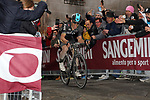 Michal Kwiatkowski (POL) Team Sky in the lead solo at the summit of the final climb of Via Santa Caterina in Siena during the 2017 Strade Bianche running 175km from Siena to Siena, Tuscany, Italy 4th March 2017.<br /> Picture: Heinz Zwicky/Radsport.ch | Newsfile<br /> <br /> <br /> All photos usage must carry mandatory copyright credit (&copy; Newsfile | Heinz Zwicky/Radsport.ch)