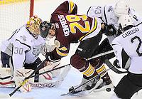 Chicago Wolves' Steve Reinprecht (29) attacks the San Antonio Rampage net during the third period of an AHL hockey game, Wednesday, April 4, 2012, in San Antonio. San Antonio won 2-1. (Darren Abate/pressphotointl.com)